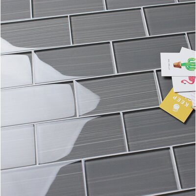Premium 3 x 6 Hand Painted Glass Mosaic Tile in Gray