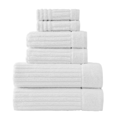 Shimmer Turkish 6 Piece Towel Set Color: White