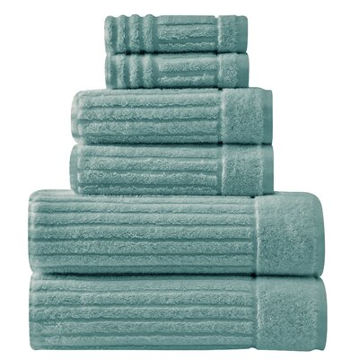 Shimmer Turkish 6 Piece Towel Set Color: Sea Foam