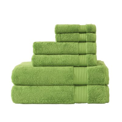 Luxury 6 Piece Towel Set Color: Greenery