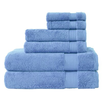 Luxury 6 Piece Towel Set Color: Serenity Blue