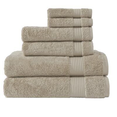 Luxury 6 Piece Towel Set Color: Brown Rice