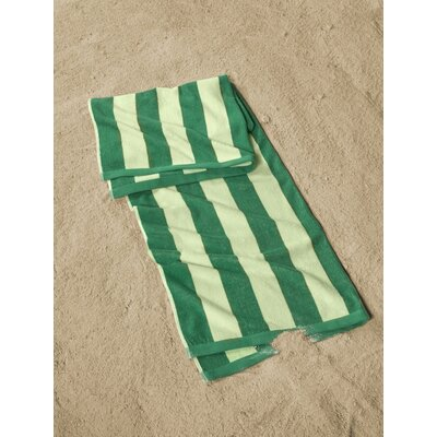 Cabana Striped Beach Towel Color: Green/Ivory