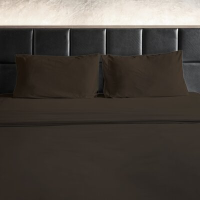Erler 1800 Thread Count Microfiber Sheet Set Size: Queen, Color: Brown