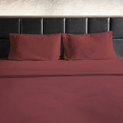 Erler 1800 Thread Count Microfiber Sheet Set Size: Full/Double, Color: Burgundy