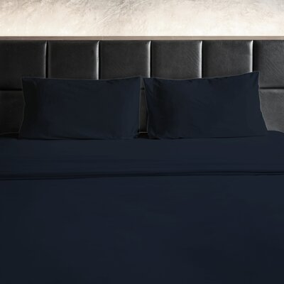 Erler 1800 Thread Count Microfiber Sheet Set Size: King, Color: Navy
