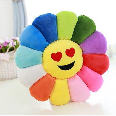 Emoji Flower Series Expression Heart Eyes Face Cotton Throw Pillow
