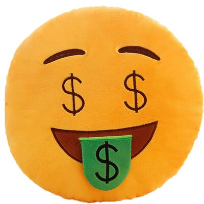 Emoji Series Expression Money Face Cotton Throw Pillow