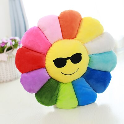 Emoji Flower Series Expression Cool Sunglasses Face Cotton Throw Pillow
