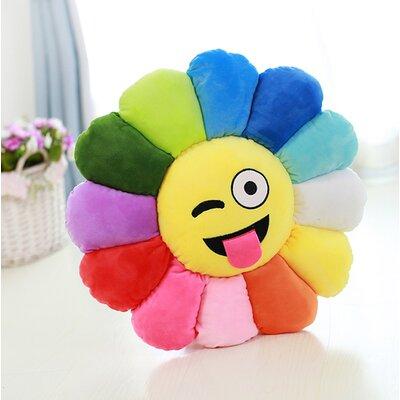 Emoji Flower Series Expression Wink Face Cotton Throw Pillow