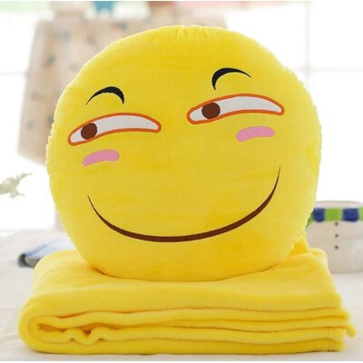Emoji Series 2 Piece QQ Expression Sly Face Hand Warming Cotton Throw Pillow and Blanket Set