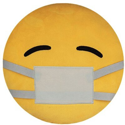 Emoji Series Expression Mask Over Mouth Face Cotton Throw Pillow