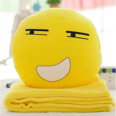 Emoji Series 2 Piece QQ Expression Grin Face Hand Warming Throw Cotton Pillow and Blanket Set