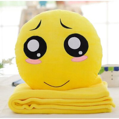 Emoji Series 2 Piece QQ Expression Pity Face Hand Warming Cotton Throw Pillow and Blanket Set