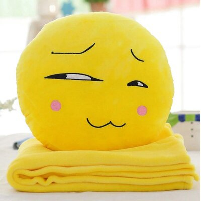 Emoji Series 2 Piece QQ Expression Smirking Face Hand Warming Cotton Throw Pillow and Blanket Set