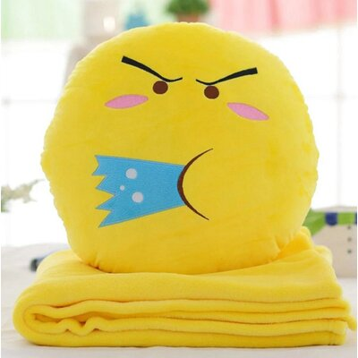 Emoji Series 2 Piece QQ Expression Spitting Water Face Hand Warming Cotton Throw Pillow and Blanket Set