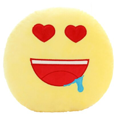 QQ Series Emoticon Heart Eyes Face Cotton Throw Pillow