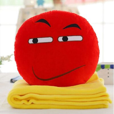 Emoji Series 2 Piece QQ Expression Angry Face Hand Warming Cotton Throw Pillow and Blanket Set