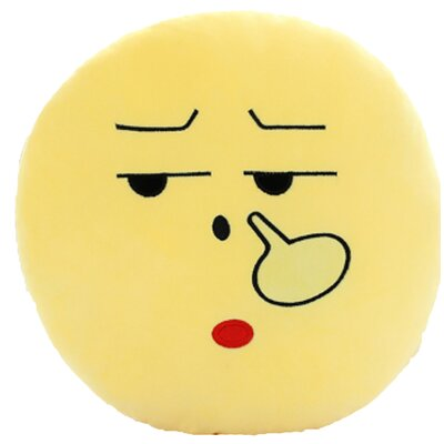 QQ Series Emoticon Picking Nose Emoji Round Cotton Throw Pillow