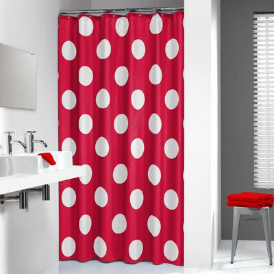Polka Shower Curtain Color: Red