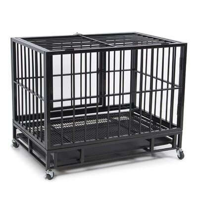 Heavy Duty Dog Pet Crate Color: Black