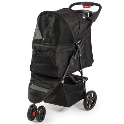 Foldable Cat/Dog Cage Pet Standard Stroller Color: Black