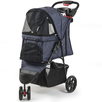 Foldable Cat/Dog Cage Pet Standard Stroller Color: Dark Blue