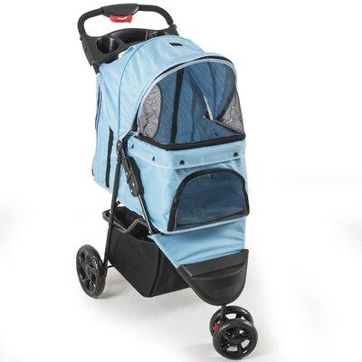 Foldable Cat/Dog Cage Pet Standard Stroller Color: Light Blue