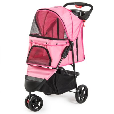 Foldable Cat/Dog Cage Pet Standard Stroller Color: Pink
