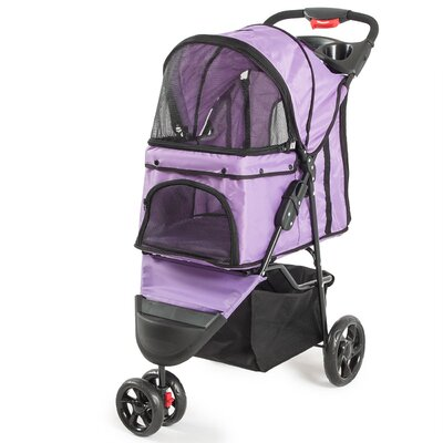Foldable Cat/Dog Cage Pet Standard Stroller Color: Purple
