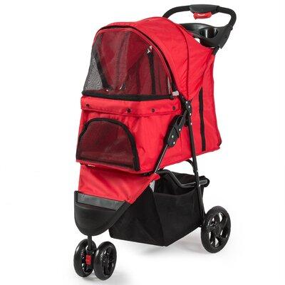 Foldable Cat/Dog Cage Pet Standard Stroller Color: Red