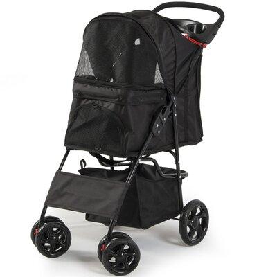 Folding 4 Wheels Pet Dog Cat Standard Stroller Color: Black