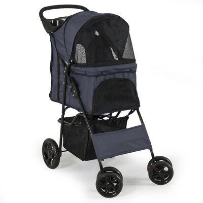 Folding 4 Wheels Pet Dog Cat Standard Stroller Color: Dark Blue