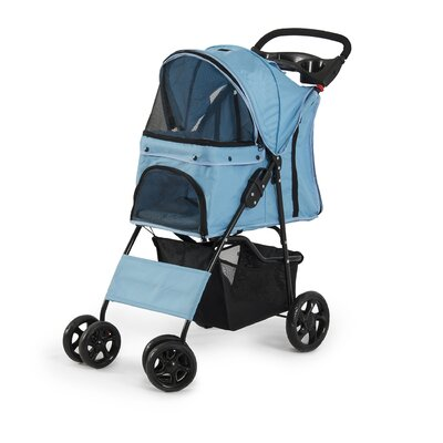 Folding 4 Wheels Pet Dog Cat Standard Stroller Color: Light Blue