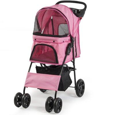 Folding 4 Wheels Pet Dog Cat Standard Stroller Color: Pink
