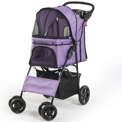 Folding 4 Wheels Pet Dog Cat Standard Stroller Color: Purple