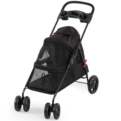 4 Wheel Cat/Dog Pet Standard Stroller Color: Black