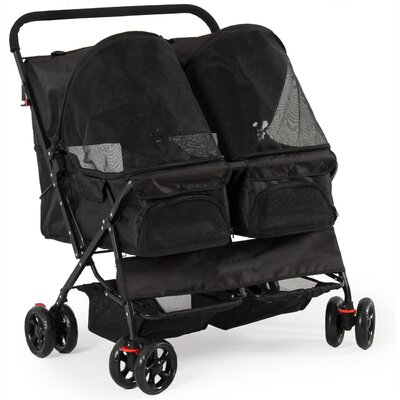 Deluxe Double Side Pet Standard Stroller Color: Black