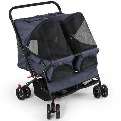 Deluxe Double Side Pet Standard Stroller Color: Dark Blue