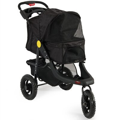 Deluxe Pet Stroller Cat Dog 3 Wheel Walk Jogger Stroller Color: Black