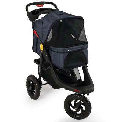 Deluxe Pet Stroller Cat Dog 3 Wheel Walk Jogger Stroller Color: Dark Blue