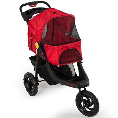 Deluxe Pet Stroller Cat Dog 3 Wheel Walk Jogger Stroller Color: Red