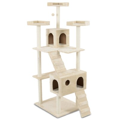 72 Play House Cat Trees and Condos Color: Beige