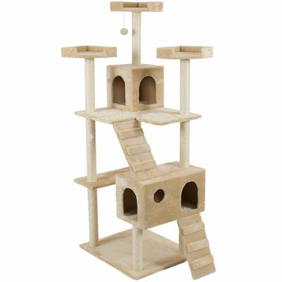 72 Play House Cat Trees and Condos Color: Almond