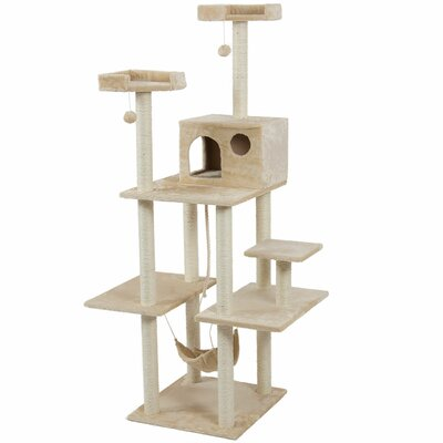 72 Tower Scratch Post Cat Trees and Condos Color: Almond