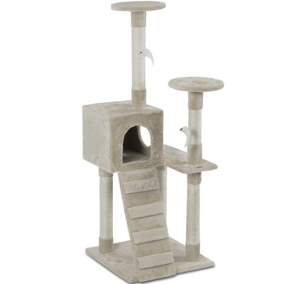 52 Deluxe Scratcher Post Cat Trees and Condos Color: Beige