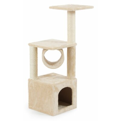 36 Deluxe Scratching Post Cat Tree and Condos Color: Almond