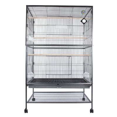 Deluxe Large Play Top Parrot Finch Perch Bird Cage with Casters