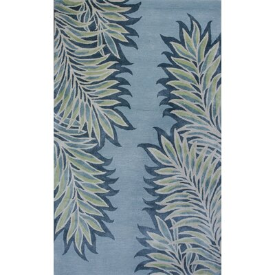 Bob Mackie Home Ice Blue Folia Area Rug Rug Size: 33 x 53