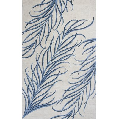 Bob Mackie Home Ivory/Blue Plume Area Rug Rug Size: Rectangle 9 x 13